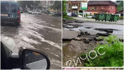 В Днепре масштабная непогода: улицы затопило, асфальт смыло потоком воды
