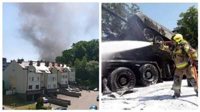 В Польше в ДТП попала военная техника – сгорели два танка: фото