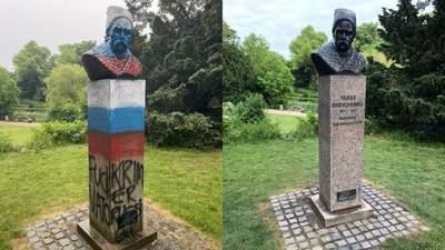 В Копенгагене восстановили оскверненный российским триколором памятник Шевченко: что известно