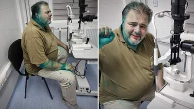 """Пророссийского """"журналиста"""" Коцабу облили зеленкой и избили: видео"""