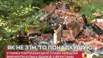 Біля парку Партизанської слави: у Києві стихійні торгівці викинули ящики з зіпсованими фруктами