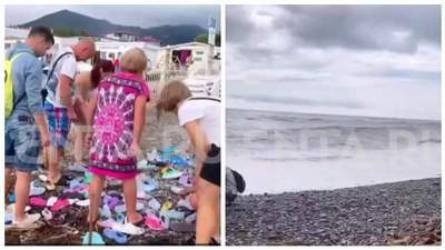 """""""Дары моря"""": российские туристы в Сочи набросились на шлепанцы, выбросившие на берег – видео"""