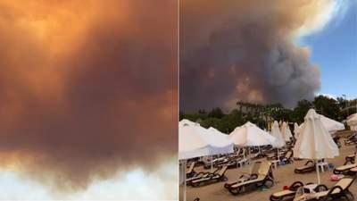 Пока туристы на пляже: очевидцы показали апокалиптические масштабы пожара в Турции – видео