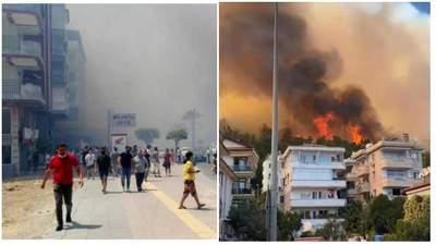 В Турции лесные пожары добрались до отелей: туристов эвакуируют на пляж – видео