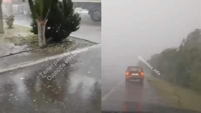 В Одесской области прошел сильный град с грозой: не было видно дорогу – видео