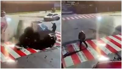 У ДТП на Чернігівщині чоловік дивом врятувався, авто пролетіло перед ним: вражаюче відео