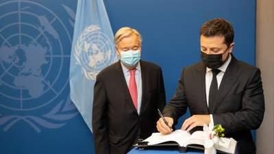 Зеленський розказав Генсеку ООН про ситуацію на Донбасі й передав список політв'язнів