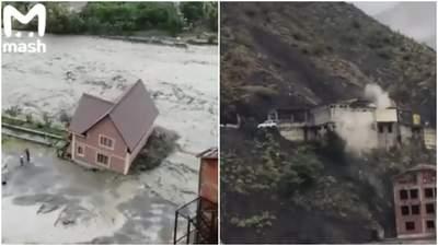 В Дагестане вода сносит дома и дороги: жуткие видео