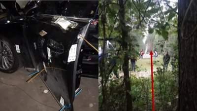 В МВД показали новые фото обстрелянного авто Шефира и позицию киллера