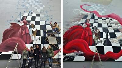Шахова королева проти тиранів: у Києві з'явився символічний мурал – яскраві фото