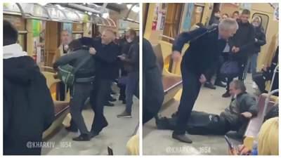 Пиячив і розливав пиво у вагоні: машиніст метро в Харкові відлупцював пасажира – епічне відео