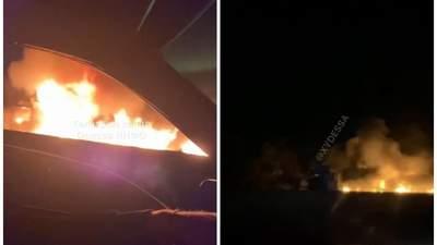 В Одесской области из-за ДТП с фурами вспыхнул масштабный пожар: видео с места аварии