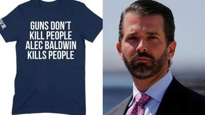 """""""Зброя не вбиває людей """": на сайті сина Трампа продають футболки зі звинуваченням Болдвіна"""