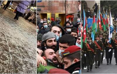 Головні новини 10 грудня: крижаний дощ у Києві, протести у Вірменії й парад в Азербайджані
