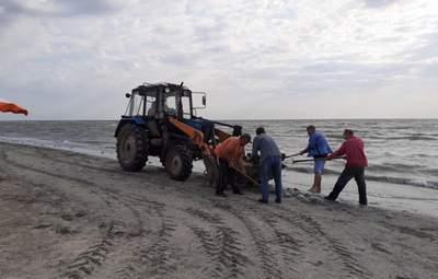 На Арабатці мертвих медуз збирали лопатами і вантажили на трактор: у людей здали нерви