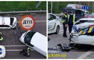 Под Киевом пьяный водитель влетел в новенькое авто полиции: патрульного аж отбросило