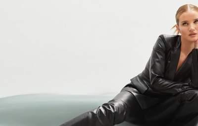 Рози Хантингтон-Уайтли позирует в роскошном кожаном костюме: эффектные кадры