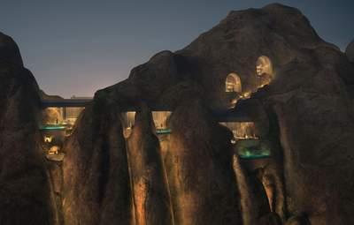 Встроенный в скалу: как будет выглядеть удивительный курорт среди пустыни Саудовской Аравии