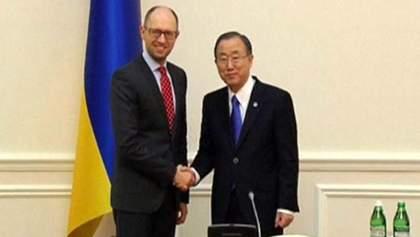 Ви показали своє лідерство, — Пан Гі Мун про російськомовне звернення Яценюка до народу