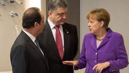 Порошенко обговорив з Меркель та Олландом процес виконання мінських угод