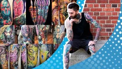 Заядлый фанат Marvel сделал рекордное количество тату с супергероями