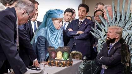 Привередливый Трамп и Меркель в маршрутке: соцсети насмехаются над фото из саммита G7