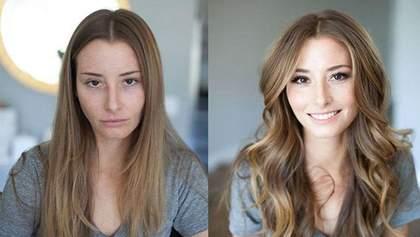 Как женщина меняется после нанесения макияжа: интересное фотосравнение