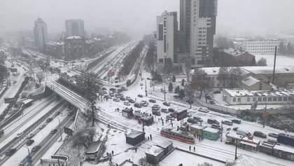 Как в Киеве отреагировали на первый снег: яркие фото и видео
