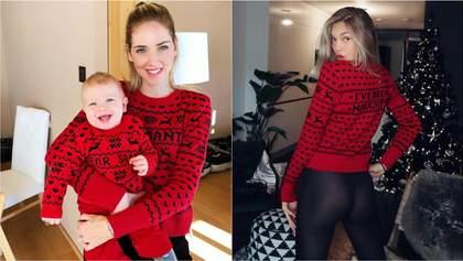 Кто самая стильная: блогерша Ферраньи и модель Роме Стрейд  в одинаковых рождественских свитерах
