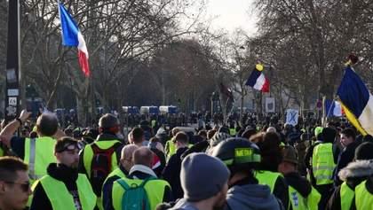 """Суботні протести """"жовтих жилетів"""" закінчились затриманням десятків людей (фото)"""
