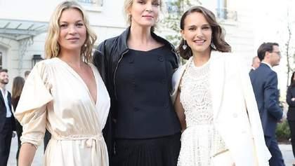 Total white: Натали Портман примеряла элегантный вечерний образ в Париже