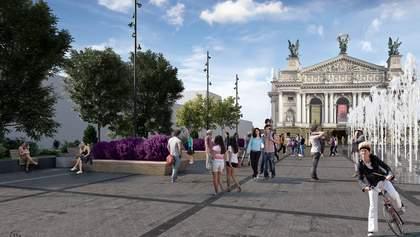 """Метеостанция и """"умный"""" фонтан: как изменится площадь перед Львовской оперой – фото"""