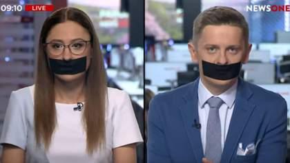 """Вслід за Шуфричем: журналісти """"112 каналу"""", ZIK та NewsOne заклеїли роти скотчем: фото"""