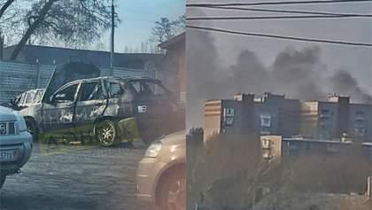 """В окупованому Донецьку під """"міліцією"""" бойовиків підірвали авто: фото"""