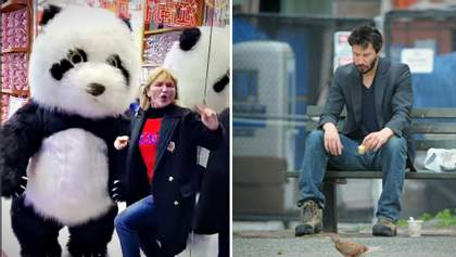 Самые смешные мемы недели: Ира Луценко зажгла с пандой, Киану Ривз учит украинцев истории