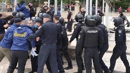 Нацкорпус влаштував сутички з поліцією на одному з пляжів Одеси: подробиці та відео