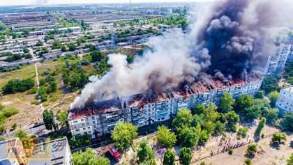 Масштабный пожар в Новой Каховке сняли с дрона: впечатляющие фото и видео