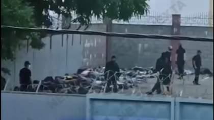 У Мінську на території РУВС затриманих складають на асфальт колодами і б'ють кийками – відео