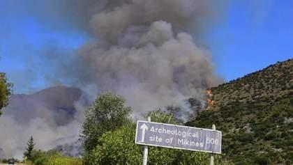У Греції лісова пожежа дійшла до руїн стародавнього міста Мікени: фото