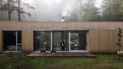 Ідеальний для осінньої погоди: дерев'яний будиночок з сауною посеред лісу – фото