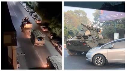 Сотни тысяч людей вышли на протесты в Мьянме, на улицы городов вывели танки