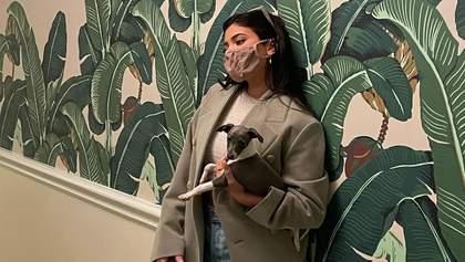 Кайли Дженнер прогулялась с собачкой в обрезанных сапогах и жакете: поразительный образ