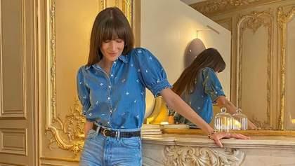 Головний бестселер весни – джинси з розрізами по боках: як їх носити показує Жюлі Феррері