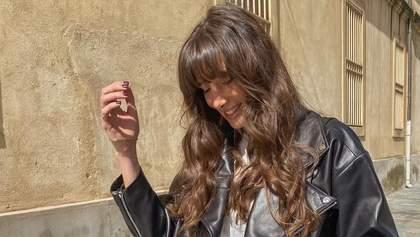 Кожаная куртка и джинсовые шорты – идеальный весенний дуэт: показывает модница Жюли Феррери