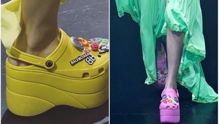 Новый модный тренд – кроксы на высокой платформе: причудливые фото