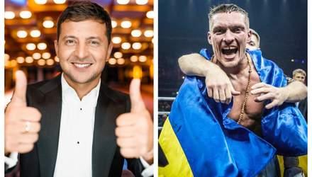 Зеленський привітав Усика з перемогою та висловився про звання Героя України: відео