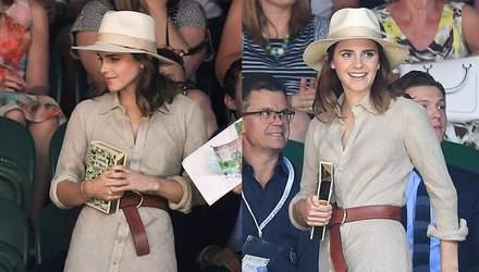 Емма Уотсон у стильному капелюшку і вінтажній сукні відвідала тенісний турнір: фото