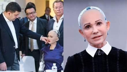 """""""Домогательства"""" Гройсмана и сходство с Тимошенко:реакция соцсетей на визит робота Софии"""