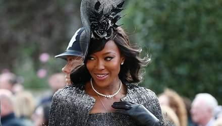 Леди в черном: Наоми Кэмпбелл показала элегантный образ на королевской свадьбе