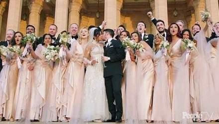 Платье с миллионами жемчужин и 22-метровая вуаль: появились первые фото со свадьбы Приянки Чопры
